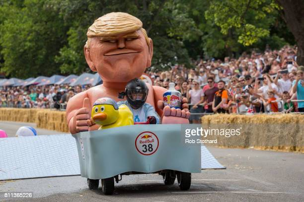 Team Hair Force One races down the course during the Red Bull Soapbox Race at Alexandra Palace on July 9 2017 in London England The event in which...