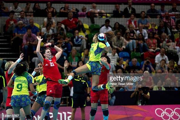 2012 Summer Olympics Brazil Alexandra Nascimento in action vs Russia during Women's Preliminary Round Group A game at The Copper Box London United...