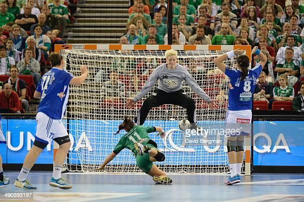EHF Final Four Gyori Audi KC Dorina Korsos in action vs ZRK Buducnost goalie Clara Woltering during Women's Final at Papp Laszlo Budapest Sports...