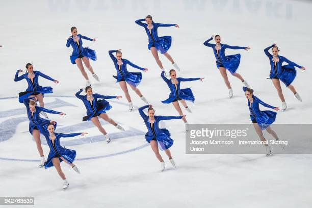 Team Haydenettes of the United States compete in the Short Program during the World Synchronized Skating Championships at Ericsson Globe on April 6...