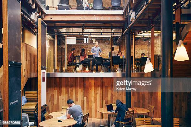 a team holds meeting in modern office space - modern stock pictures, royalty-free photos & images