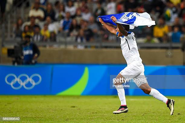 Team Honduras celebrates after a match between Republic of Korea and Honduras as part of Men`s Football Olympics at Mineirao Stadium on August 13...