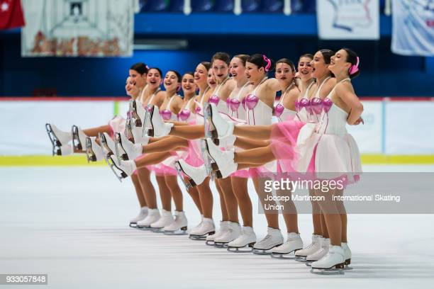 Team Hot Shivers Junior of Italy compete in the Free Skating during the World Junior Synchronized Skating Championships at Dom Sportova on March 17...