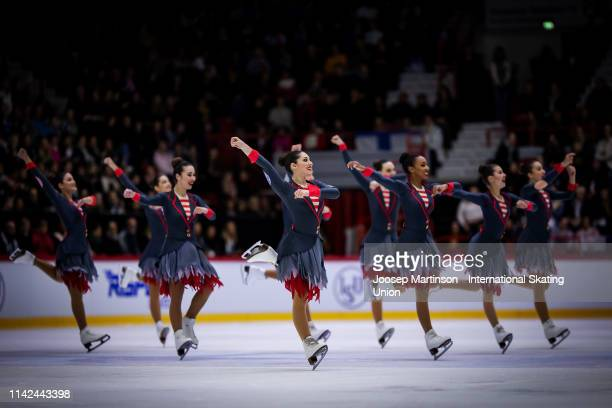 Team Hot Shivers of Italy perform in the Free Skating during day two of the ISU World Synchronized Skating Championships at Helsinki Arena on April...