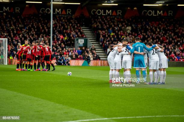 Team huddles during the Premier League match between AFC Bournemouth and Swansea City at Vitality Stadium on March 18 2017 in Bournemouth England