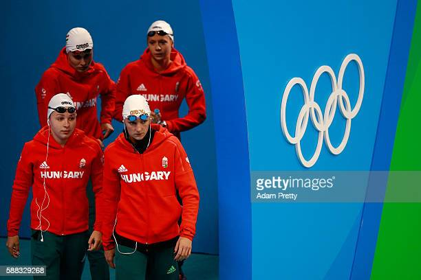 Team Hungary are seen before the Women's 4 x 200m Freestyle Relay Final on Day 5 of the Rio 2016 Olympic Games at the Olympic Aquatics Stadium on...