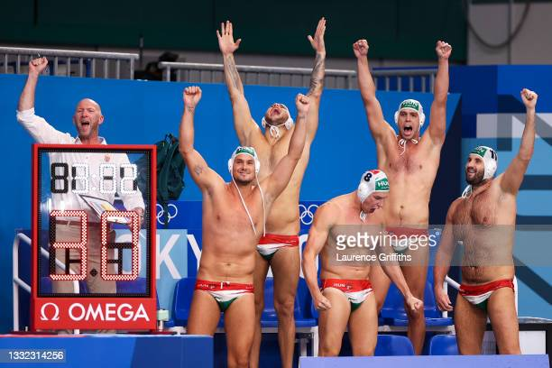 Team Hungary celebrate the win during the Men's Quarterfinal match between Hungary and Croatia on day twelve of the Tokyo 2020 Olympic Games at...