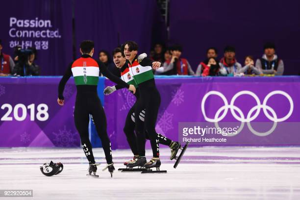Team Hungary celebrates winning the gold medal during the Men's 5000m Relay Final A on day 13 of the PyeongChang 2018 Winter Olympic Games at...
