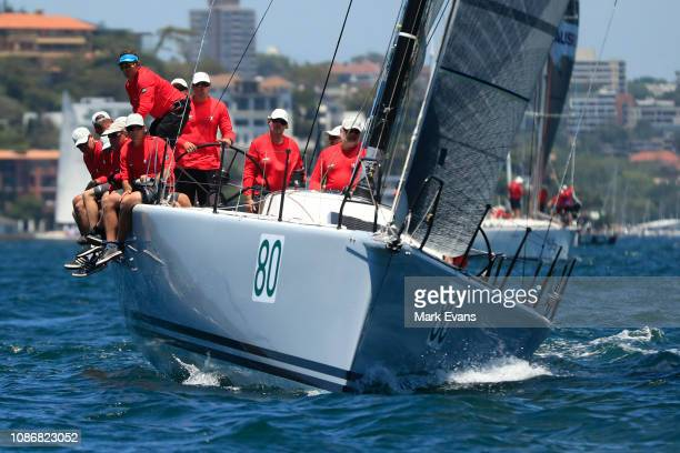 Team Hungary during the start of the Sydney to Hobart Yacht race on December 26 2018 in Sydney Australia