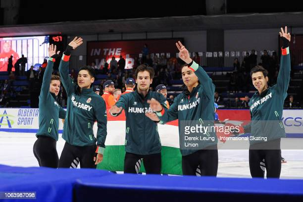 Team Hungary waves to the crowd after placing first in the men's 5000m relay finals during the ISU World Cup Short Track Calgary at the Olympic Oval...