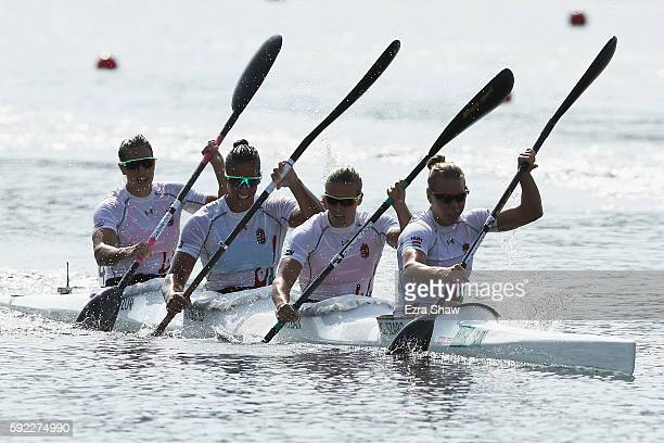 Team Hungary wins the gold medal in the Women's Kayak Four 500m Finals on Day 15 of the Rio 2016 Olympic Games at the Lagoa Stadium on August 20 2016...