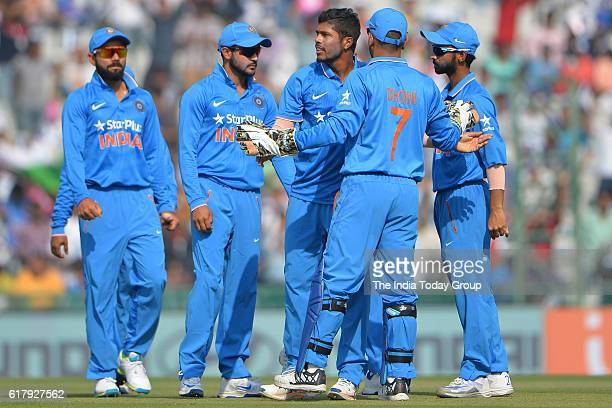 Team India during the third oneday international cricket match against New Zealand in Mohali