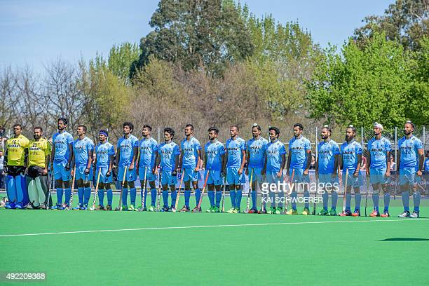 Team India line up for their national anthem ahead of the international men's hockey test match between the New Zealand Black Sticks and India on...