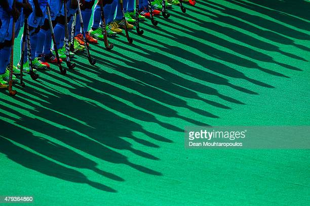Team India line up prior to the Fintro Hockey World League SemiFinal match between India and Belgium held at KHC Dragons Gemeentepark Stadium on July...