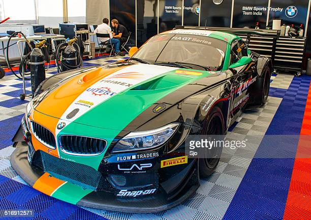bmw team india race car in the paddock - fia gt championship stock pictures, royalty-free photos & images