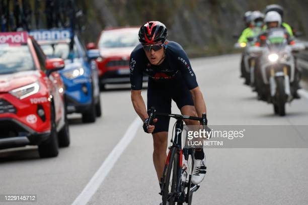 Team Ineos Australia's rider Rohan Dennis competes during the fifteenth stage of the Giro d'Italia 2020 cycling race, a 185-kilometer route between...