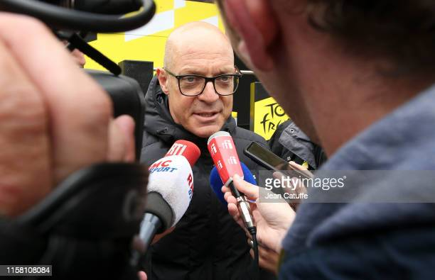 Team Ineos general manager Dave Brailsford answers to the media following stage 20 of the 106th Tour de France 2019, a stage from Albertville to Val...