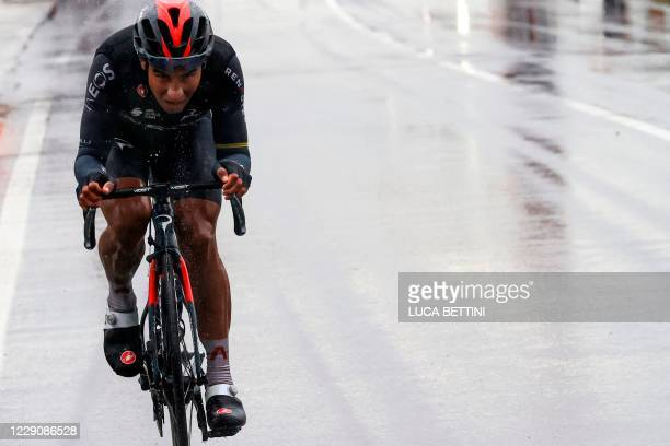 Team Ineos Grenadiers Ecuador's rider Jhonatan Narvaez leads the race during the 12th stage of the Giro d'Italia 2020 cycling race, a 204-kilometers...