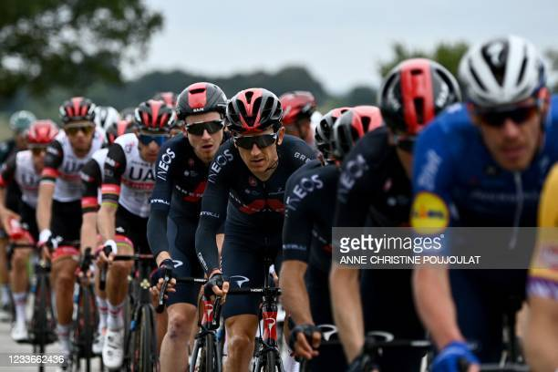 Team Ineos Grenadiers' Geraint Thomas of Great Britain rides in the pack during the 1st stage of the 108th edition of the Tour de France cycling...