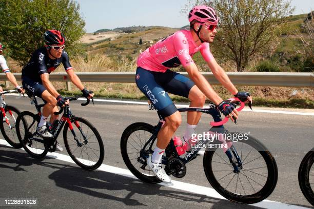 Team Ineos Grenadiers Italian rider Filippo Ganna competes in the second stage of the 2020 Giro d'Italia, a 149 km route between Alcamo and...