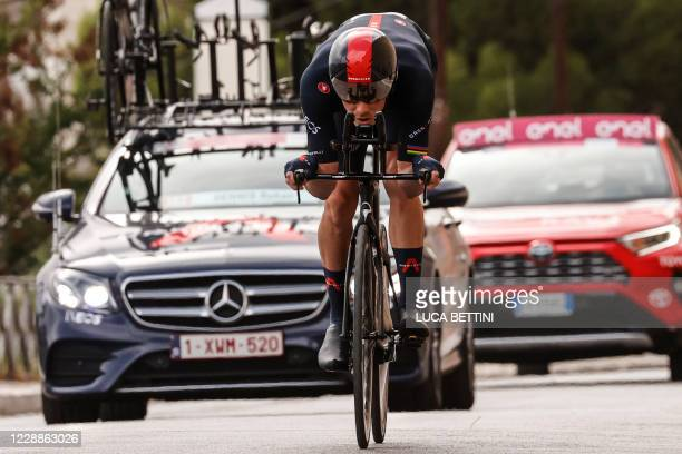 Team Ineos rider Australia's Rohan Dennis rides during the first stage of the Giro d'Italia 2020 cycling race, a 15.1-kilometer individual time trial...