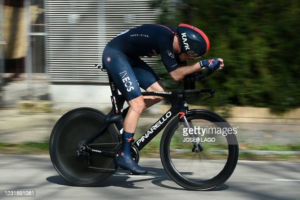 Team Ineos rider Australia's Rohan Dennis rides during the second stage of the 100th Volta Catalunya 2021 a 18,5 km Individual time-trial starting...