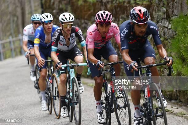 Team Ineos rider Colombia's Daniel Martinez, Overall leader Team Ineos rider Colombia's Egan Bernal, Team BikeExchange rider Great Britain's Simon...