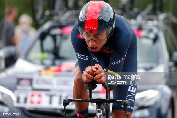 Team Ineos rider Colombia's Egan Bernal competes in the first stage of the Giro d'Italia 2021 cycling race, a 8.6 km individual time trial on May 8,...