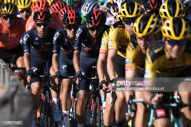 Team Ineos rider Colombia's Egan Bernal rides in the pack during the 2nd stage of the 107th edition of the Tour de France cycling race, 187 km...