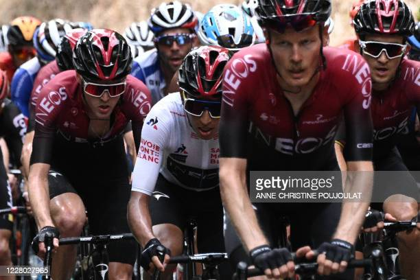 Team Ineos rider Colombia's Egan Bernal wearing the best young's white jersey rides during the second stage of the 72nd edition of the Criterium du...