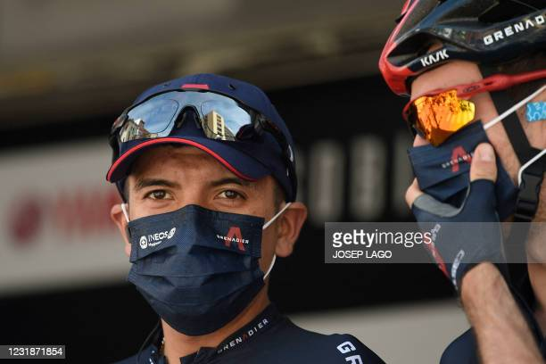 Team Ineos rider Ecuador's Richard Carapaz waits before the start of the fist stage of the 100th Volta Catalunya 2021 a 178,5 km ride starting and...