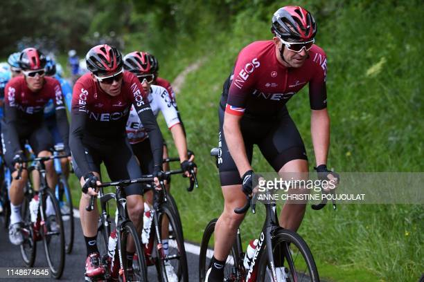 Team Ineos rider Great Britain's Christopher Froome follows Team Ineos rider Great Britain's Ian Stannard as they ride in the pack on the first stage...