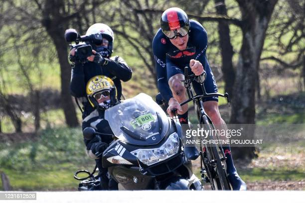 Team Ineos rider Great Britain's Tao Geoghegan Hart competes followed by a tv crew during the 3rd stage of the 79th Paris - Nice cycling race, a...
