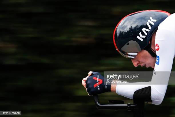 Team Ineos rider Great Britain's Tao Geoghegan Hart rides during the individual time trial in the 21st and final stage of the Giro d'Italia 2020...