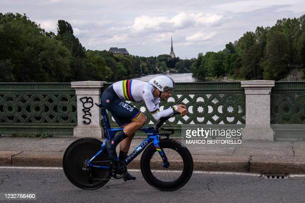 Team Ineos rider Italy's Filippo Ganna competes in the first stage of the Giro d'Italia 2021 cycling race, a 8.6 km individual time trial on May 8,...