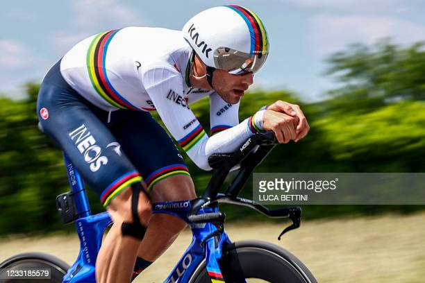 Team Ineos rider Italy's Filippo Ganna rides during the 21st and last stage of the Giro d'Italia 2021 cycling race, a 30.3km individual time trial...