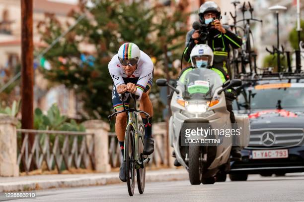TOPSHOT Team Ineos rider Italy's Filippo Ganna rides during the first stage of the Giro d'Italia 2020 cycling race a 151kilometer individual time...