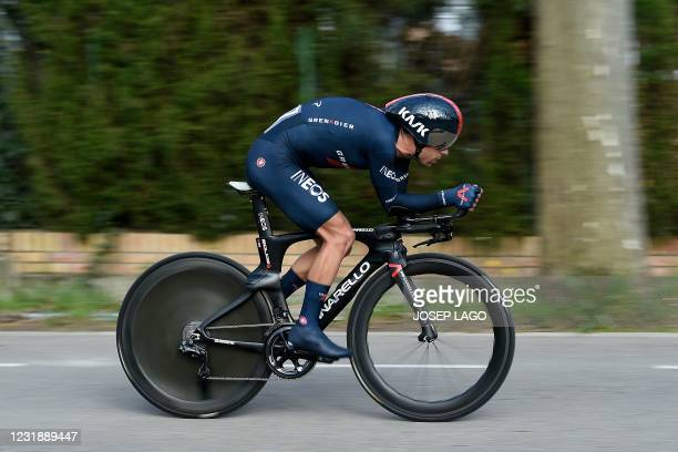 Team Ineos's Australian rider Richie Porte competes in the second stage of the 100th Volta Catalunya 2021, an 18,5 km individual time-trial starting...