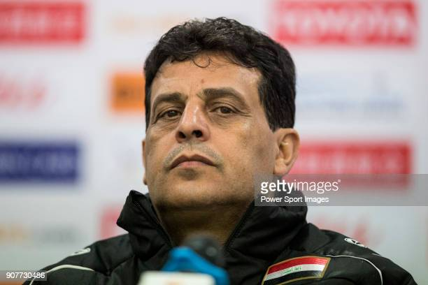 Team Iraq manager AbdulGhani Shahad talks to media during the post match press conference of the AFC U23 Championship China 2018 Group C match...