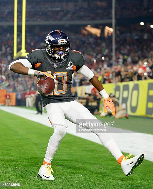 Team Irvin wide receiver Emmanuel Sanders of the Denver Broncos celebrates a third quarter touchdown during the 2015 Pro Bowl at University of...