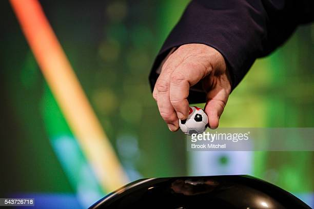 A team is drawn during the FFA Cup round of 32 announcement at the FFA Offices on June 30 2016 in Sydney Australia