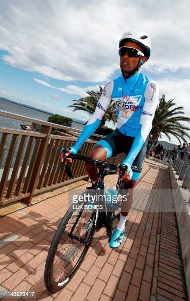 Team Israel Academy rider Eritrea's Awet Andemeskel arrives ahead of the start of the stage four of the 102nd Giro d'Italia - Tour of Italy - cycle...