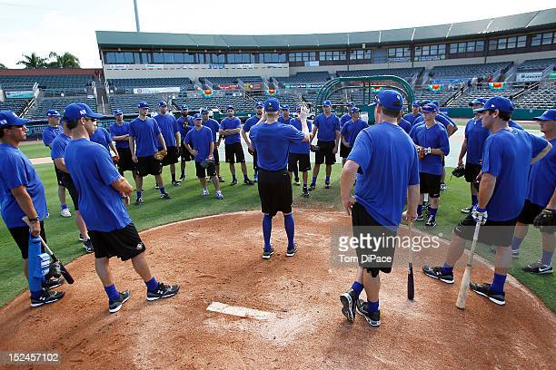Team Israel coaches address the team during the workout for the World Baseball Classic Qualifier at Roger Dean Stadium on September 17, 2012 in...
