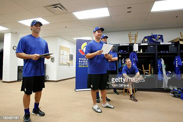 Team Israel manager Brad Ausmus addresses his team furing the workout for the World Baseball Classic Qualifier at Roger Dean Stadium on September 17,...