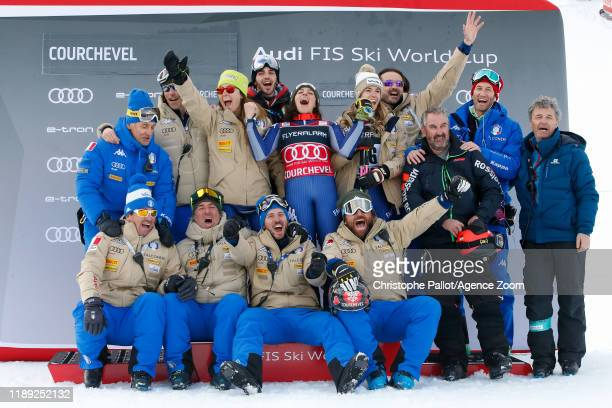 Team Italian, Federica Brignone of Italy takes 1st place during the Audi FIS Alpine Ski World Cup Women's Giant Slalom on December 17, 2019 in...