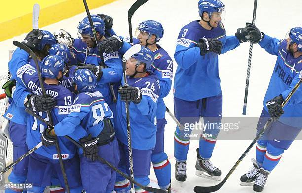MINSK BELARUS MAY Team Italy celebrate the victory during the 2014 IIHF World Championship between Italy and France at Chizhovka arena on May 11 2014...