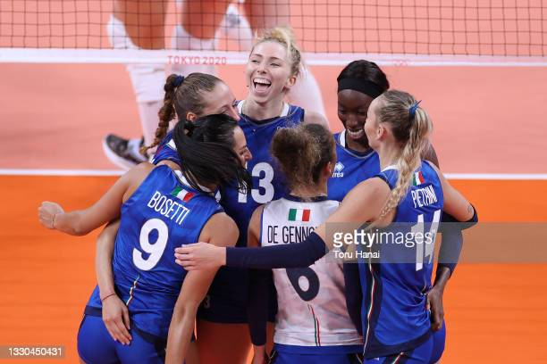Team Italy celebrates after a point against Team ROC during the Women's Preliminary - Pool B on day two of the Tokyo 2020 Olympic Games at Ariake...