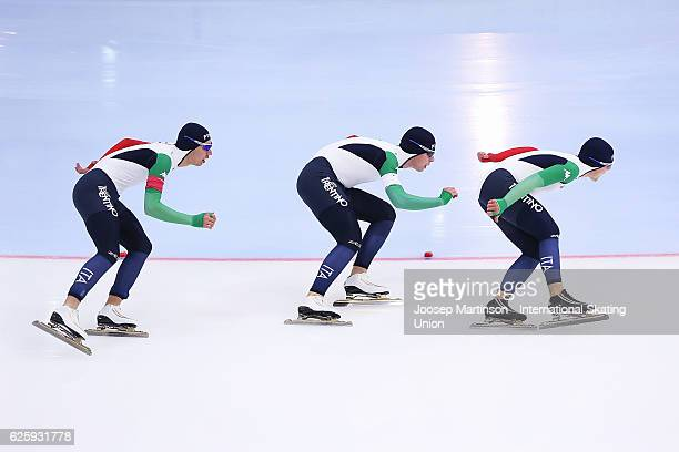 Team Italy compete in Men's Team Sprint during day one of ISU Junior World Cup Speed Skating at Minsk Arena on November 26 2016 in Minsk Belarus