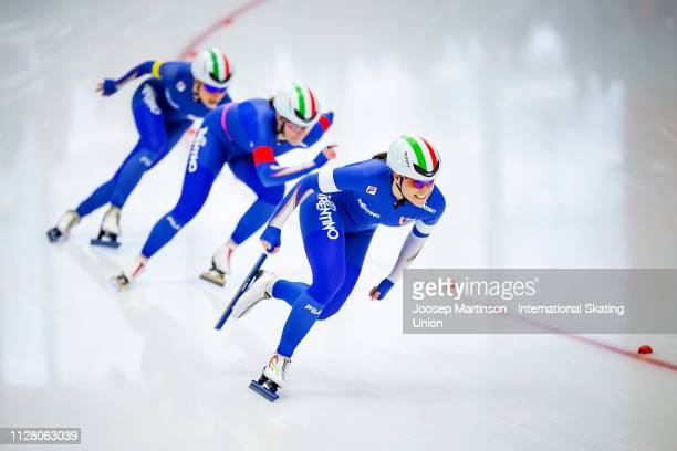 Team Italy compete in the Ladies Team Sprint during day 1 of the ISU World Single Distances Speed Skating Championships at Max Aicher Arena on...