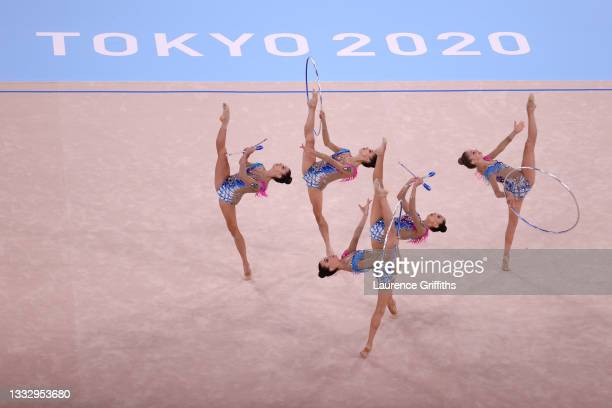 Team Italy competes during the Group All-Around Final at Ariake Gymnastics Centre on August 08, 2021 in Tokyo, Japan.